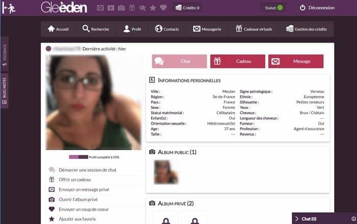 Exemple d'un profil inscrit
