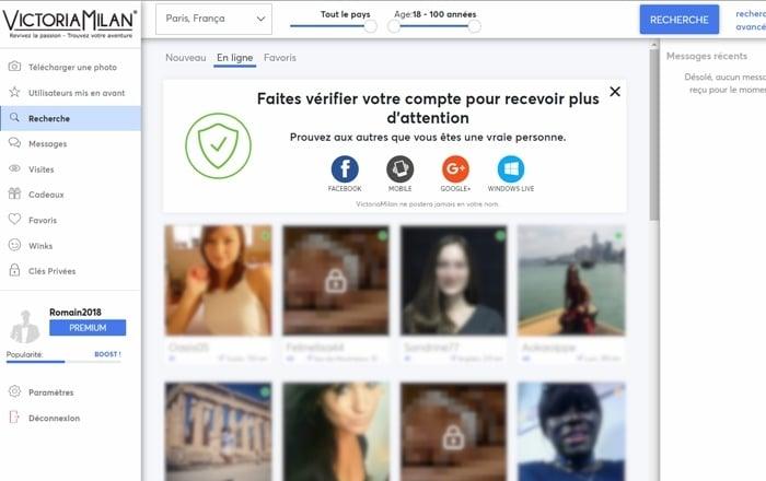 victoria milan recherche profil
