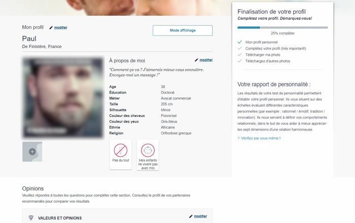 Exemple de profil inscrit sur LeParfaitGentleman.fr