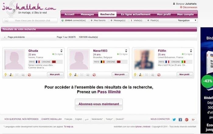 Page de recherche d'inscrits