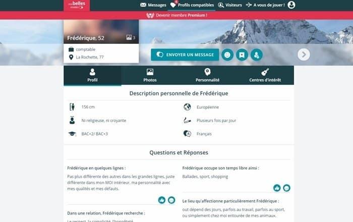 Exemple de profil inscrit sur NosBellesAnnées.fr