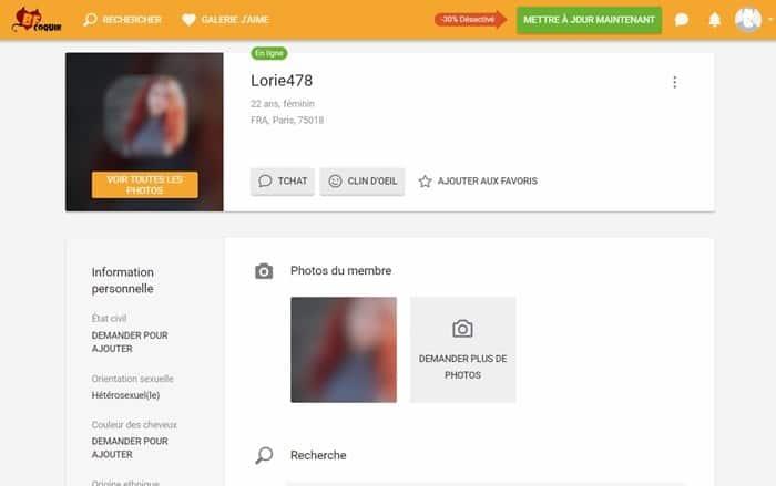 Exemple profil de femme inscrite