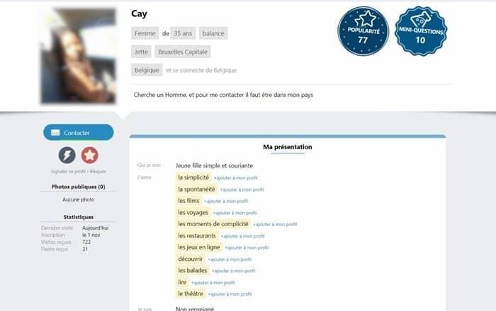 Présentation d'un profil inscrit