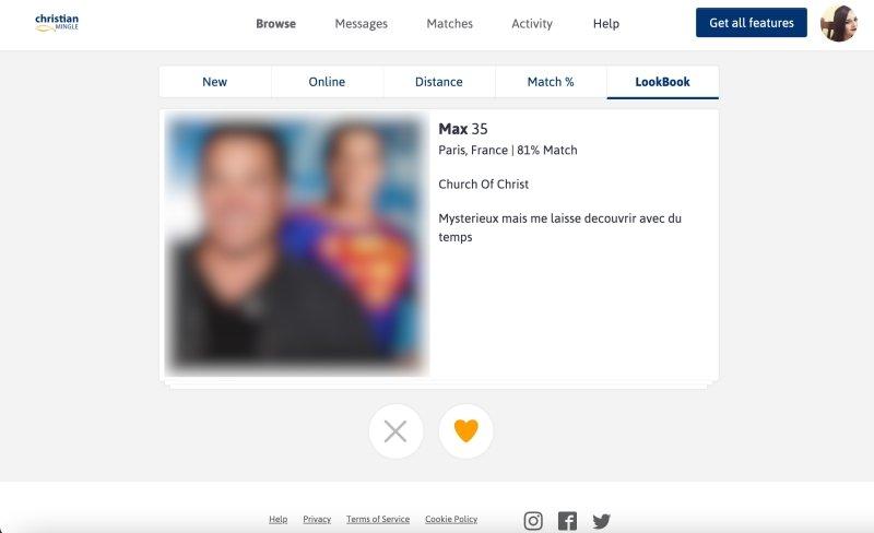 Exemple d'un profil d'inscrit sur le site